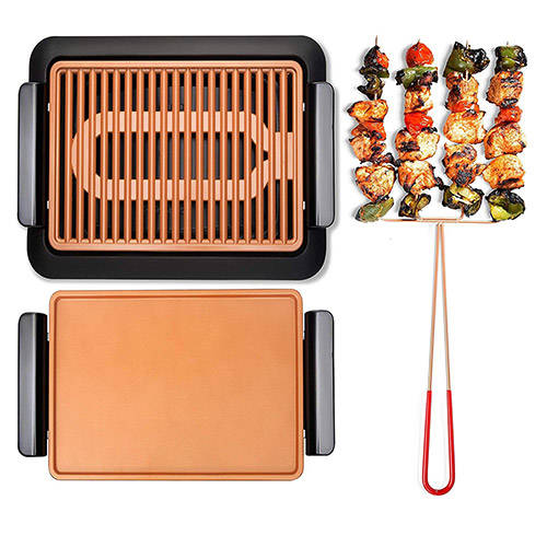 SMOKELESS GRILL W/ GRIDDLE and QUADKABOB SKEWER